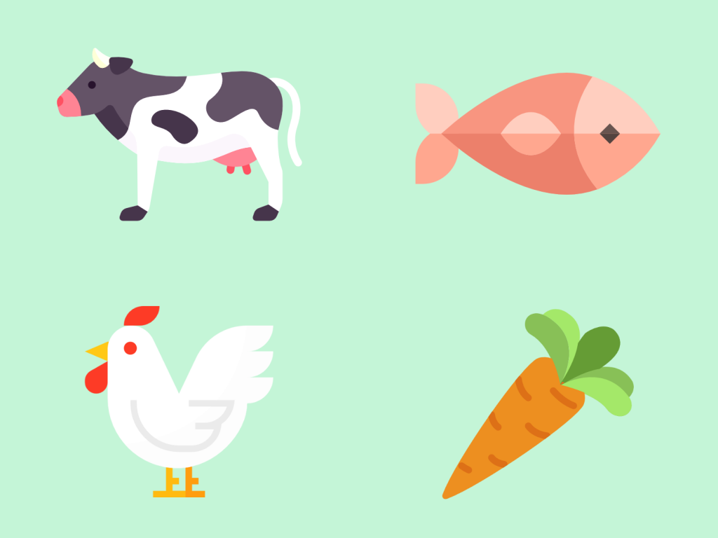 Picture of a cow, a fish, a chicken, and a carrot.