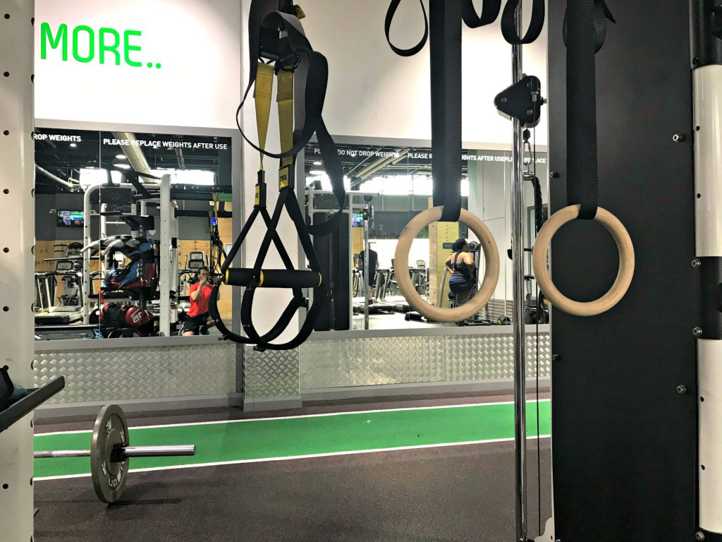 A TRX and gymnastic rings set up to the same height.