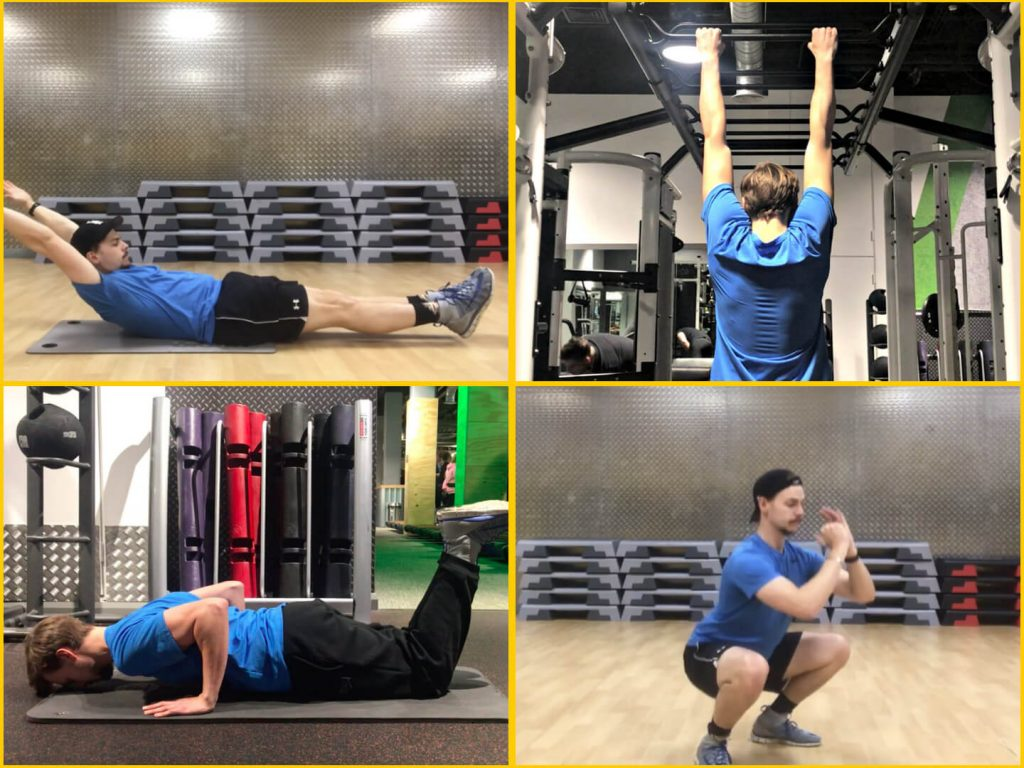 Hollow Body Hold, Pull-up, Push-up, and Squat